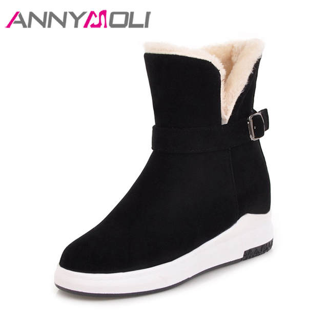 US $27.86 50% OFF ANNYMOLI Women Winter Boots Ankle Boots Spring Platform Wedges Shoes Australian Boots Buckle Hidden Heel Warm Shoes 2018 Black in