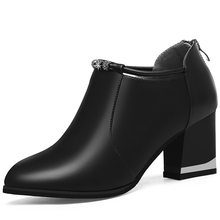 Women Genuine Leather Shoes High Square Heel Black Office Lady Sexy Party Pointed Toe YG-A0174
