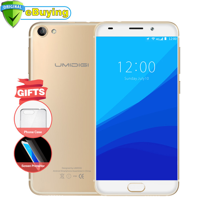 UMIDIGI G 4G Smartphone Android 7.0 MTK6737 Quad Core 5.0 inch Screen Cell Phone 2G RAM 16G ROM Touch ID unlocked mobile phone