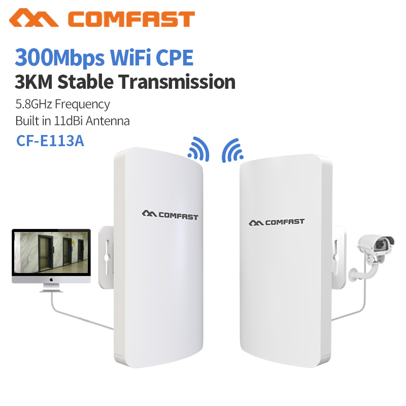 2Pcs 1-3km Long Range 5.8Ghz 300Mbps Wireless Outdoor CPE Wifi Bridge Wireless Router 11dBi Antenna  Ip Cam Nanostation