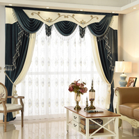 Custom curtain high class European style thicken shading blue white color Italy velvet cloth blackout curtain valance tulle E916