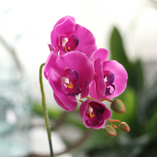 3pcs/lot  phalaenopsis potted artificial orchid flower with leaf plastic vase simulation decoration home table