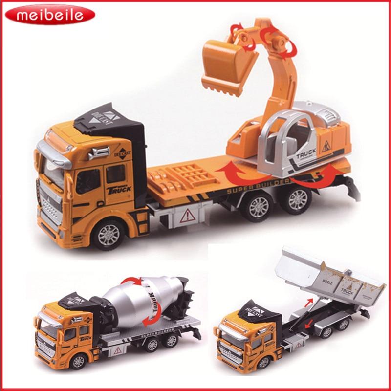 Ny ankomst Pull Back Truck Modell Bilgrävmaskin Alloy Metal & Plastic Toy Cars För Pojkar Leksaker Gift