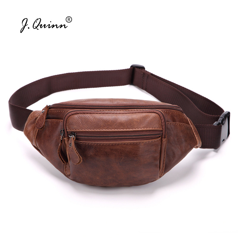 J.Quinn Men WaistPacks Genuine Leather Waist Bag Male Travel Waist Pack Fanny Pack Belt Bag Phone Pouch Bags Small Chest Packs genuine leather waist bag men s travel fanny chest pack cowhide small belt phone pouch bag new sling pillow for male bags 2018