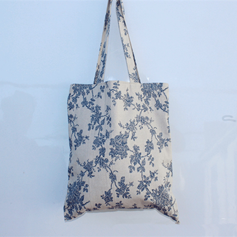 YILE Handmade Cotton Linen Eco Reusable Shopping Tote Carrying Bag Floral Blue JR420 NEW