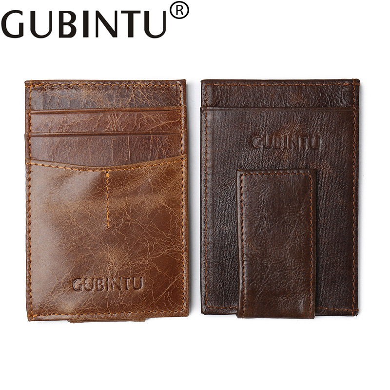 Gubintu Genuine Leather Mini Slim Cash Women Men Holder Clamp For Money Clip I Male Female Wallet Purse With ID Card Bill Pocket slim cash genuine leather women men holder clamp for money clip metal i male female wallet purse with card bill kashelek cateira