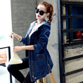 Plus Size 3XL New Arrival Streetwear Fashion Ladies Denim Trench Coat Women Slim Hoodies Windbreaker Hooded Outerwear Jean Blue