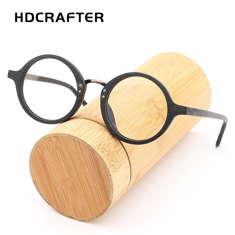 HDCRAFTER Wooden Eyewear Frames For Men Unisex Round Clear Lens Glasses Retro Glasses Frame High Quality