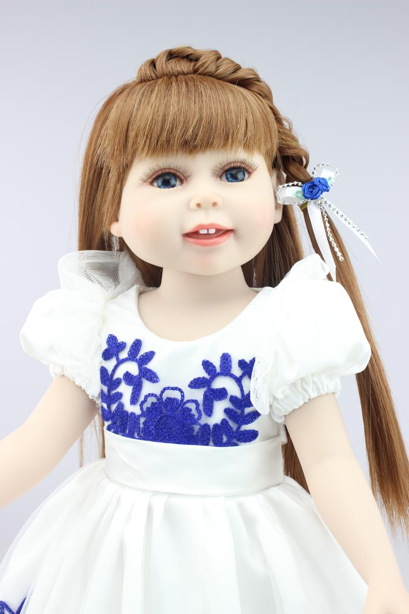 Realistic Doll 18 inches Cute Doll Handmade Full Vinyl American Girl Doll Reborn Baby Kids Gift for Girl lifelike american 18 inches girl doll prices toy for children vinyl princess doll toys girl newest design
