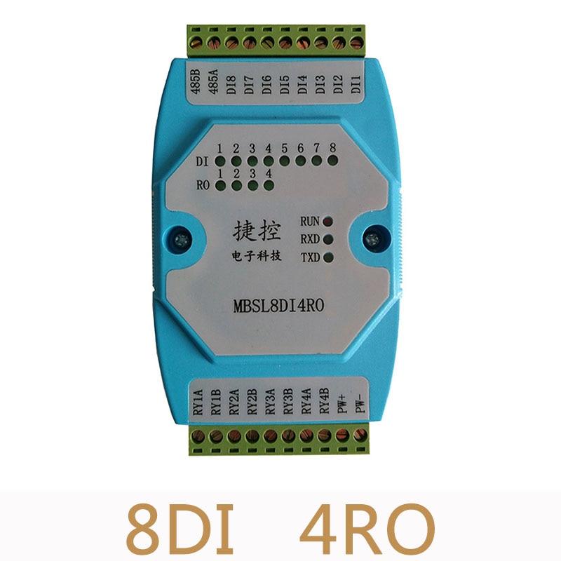 8DI4RO Remote IO data acquisition module 8 road digital input 4 road relay isolated output module MODBUS RTU communication RS485 relay module communication module   - title=