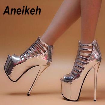 Aneikeh 2019 Sequined Cloth Platform High Heels Sandals Summer Sexy Zipper Open Toe Gladiator Party Dress Women Shoes Size 4-9 - discount item  49% OFF Women's Shoes