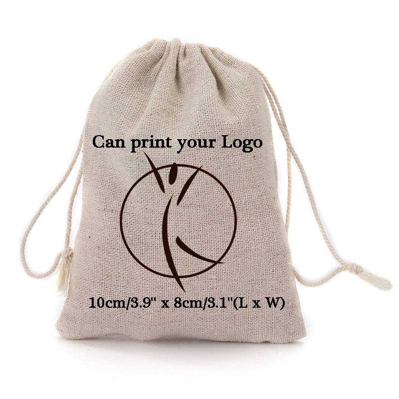 "Personalized logo 8x10cm (3""x4"") Cotton Linen Drawstring Gift Bags can print company logo or store name Customized wedding name"