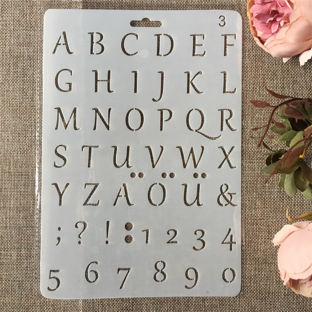 New 26cm Alphabet Letters Number DIY Craft Layering Stencils Painting Scrapbooking Stamping Embossing Album Paper Card Template