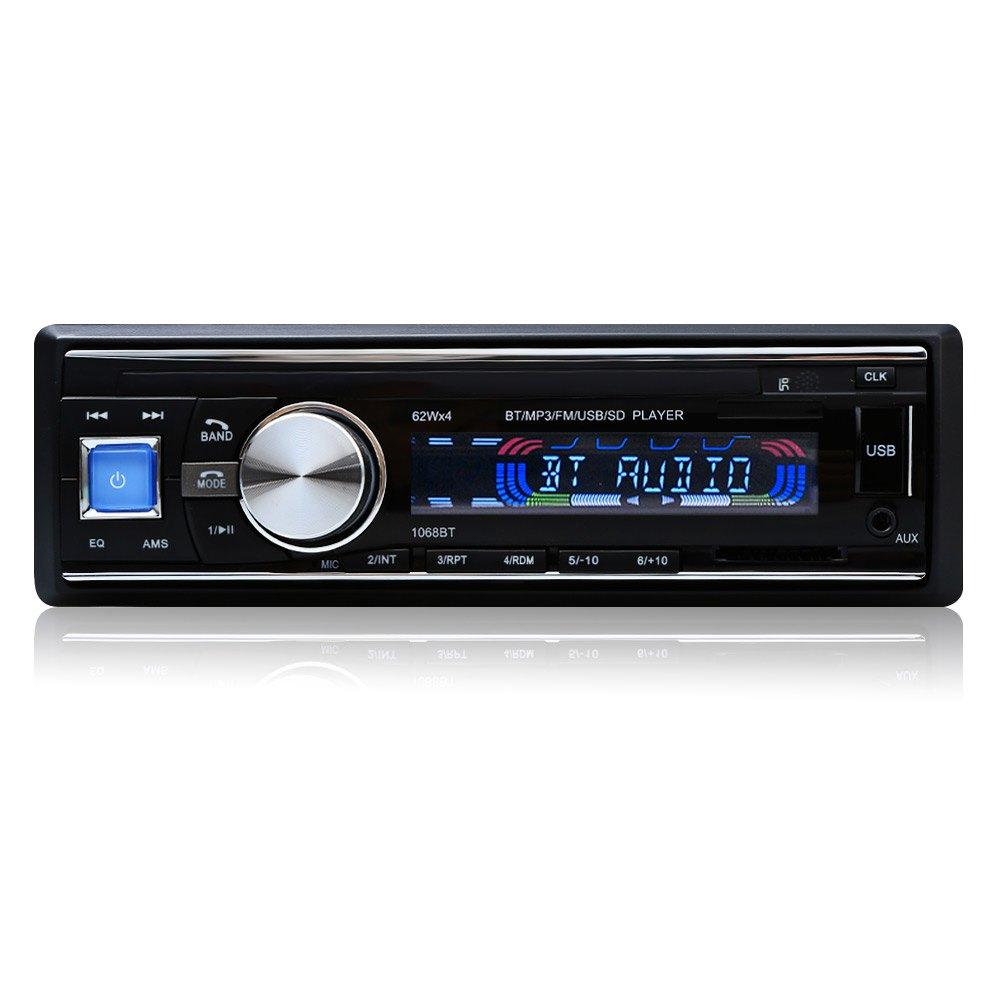 Prix pour Vente chaude De Voiture Radio 1068 Stéréo Lecteur Bluetooth Téléphone AUX MP3 FM/USB/1 Din/Télécommande Iphone 12 V Voiture Audio De Voiture Électronique