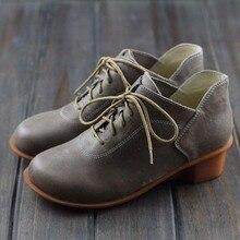 Botas de Cuero Genuino Botines de Cuña de Las Señoras de las mujeres Otoño Invierno Zapatos hechos A Mano de Encaje hasta las Botas Martin (695-3)