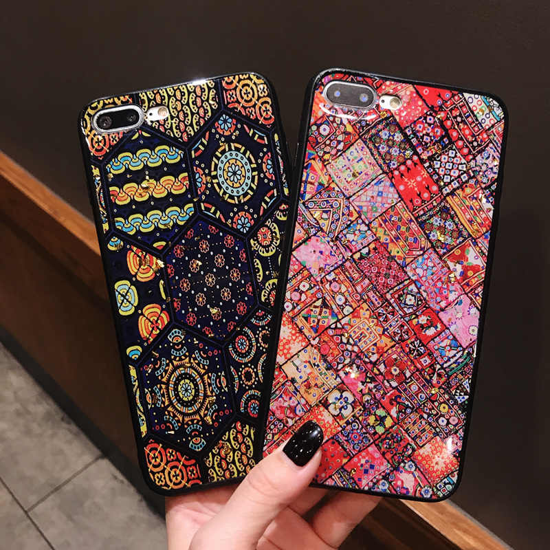 8b074982f3e Bohemian Style Phone Case For iPhone 6 6S 7 8 Plus Gold Foil Glitter Back  Cover