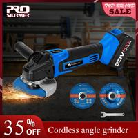 PROSTORMER 20V 4000mAh Cordless Angle Grinder Grinding Machine Grinding Electric Lithium Ion Rechargeable Grinder Power Tools
