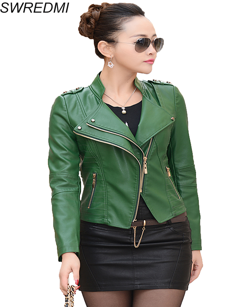leather jackets women 2017 green women leather jacket motorcycle leather coat short zippers. Black Bedroom Furniture Sets. Home Design Ideas