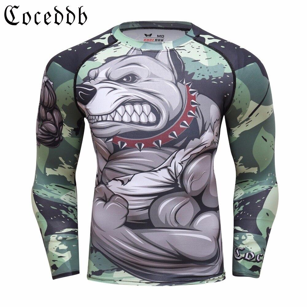 2018 Mens Fitness Compression O-cou manches Longues T-shirt Animal 3D Imprime MMA Rashguard Collants Peau Homme COCEDDB T-Shirts