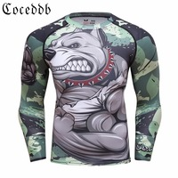 2018 Mens Fitness Compression O Neck Long Sleeves T Shirt Animal 3D Prints MMA Rashguard Tights