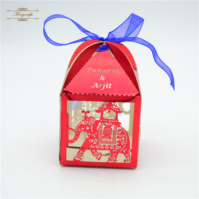 Elephant Laser Cut Animal Personalized Red Indian Wedding Favor