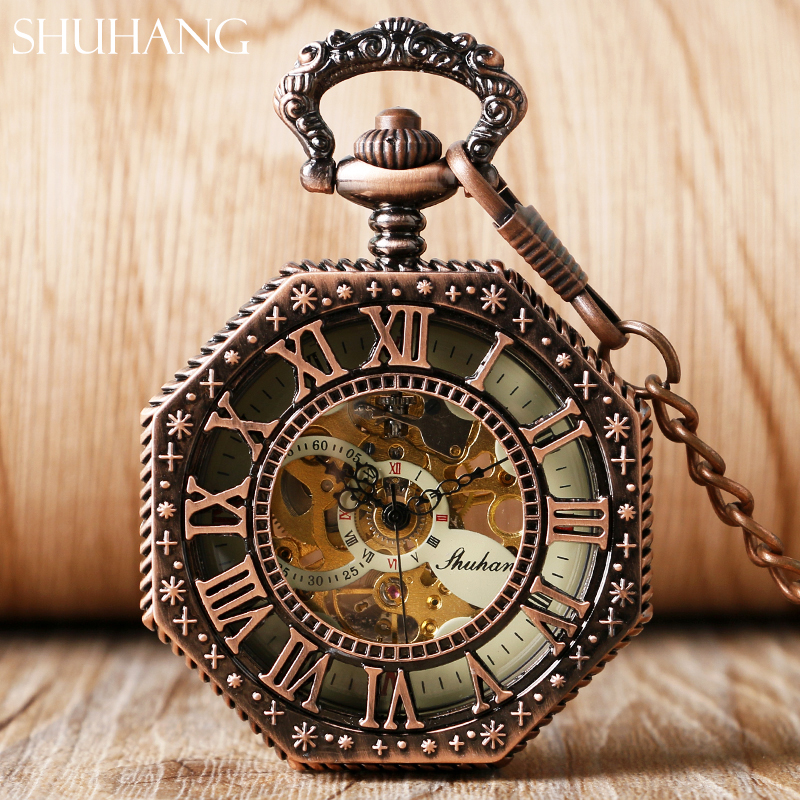 SHUHANG Rose Cooper Mechanical Hand Winding Pocket Watch Octagon Shape Roman Number Skeleton Clock Pendant With Chain Best Gift