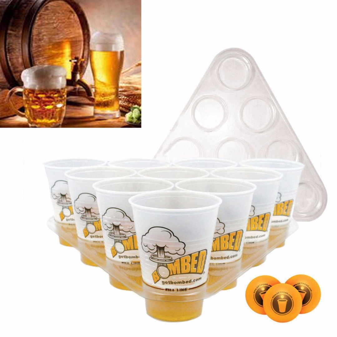 Mayitr 20 Cups 3 Balls 2 Racks Beer Pong Drinking Game Set Kit Bar Party Pub BBQ Drinking Supplies