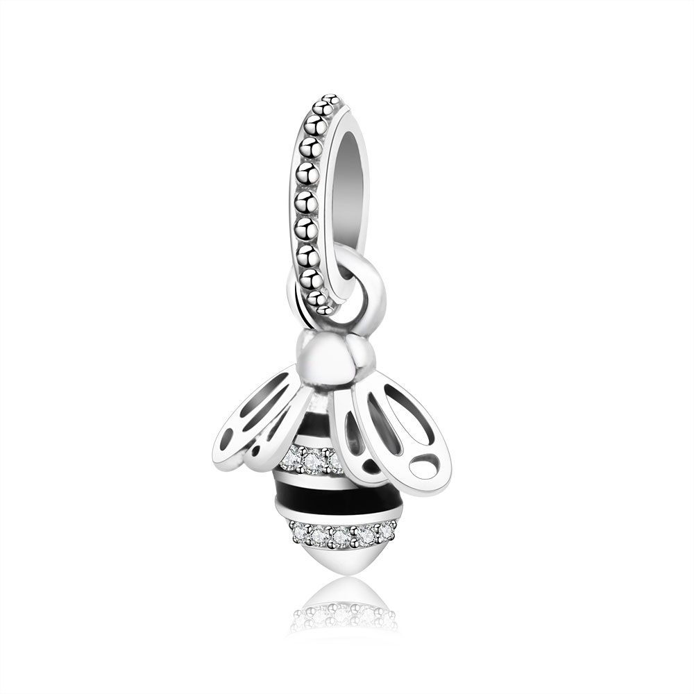 Authentic 925 Sterling Silver Bead Black Enamel Animal Honey Bee Pendant Charms Fit Original Pandora Charm Bracelet DIY Jewelry