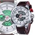 NORTE Homens Sport Watch LED TAG Relógio Digitais À Prova D' Água Relógio Masculino Couro Genuíno 2016 Ocasional Dos Homens Do Esporte de Quartzo relógio de Pulso