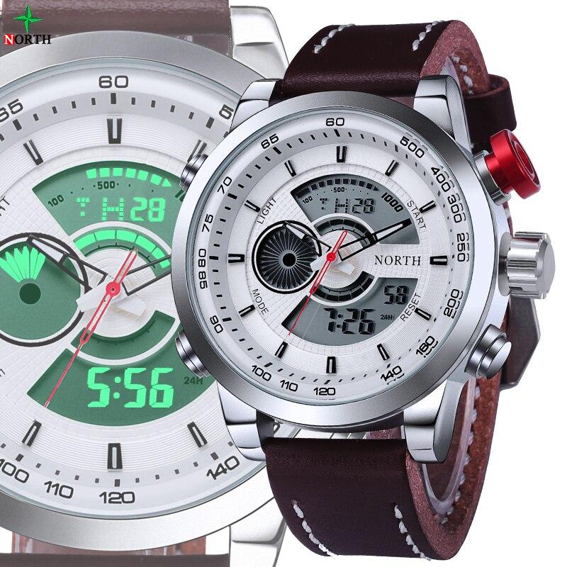 NORTH Men Sport Watch LED Digital Watch TAG Waterproof Male Clock Genuine Leather 2017 Casual Quartz