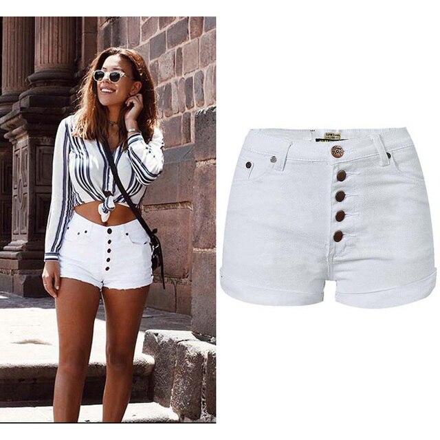 Senhoras de Cintura Alta Moda Verão Shorts Jeans Casuais Curtas Jeans Branco  Designer de Estilo de e7312a78f44e4