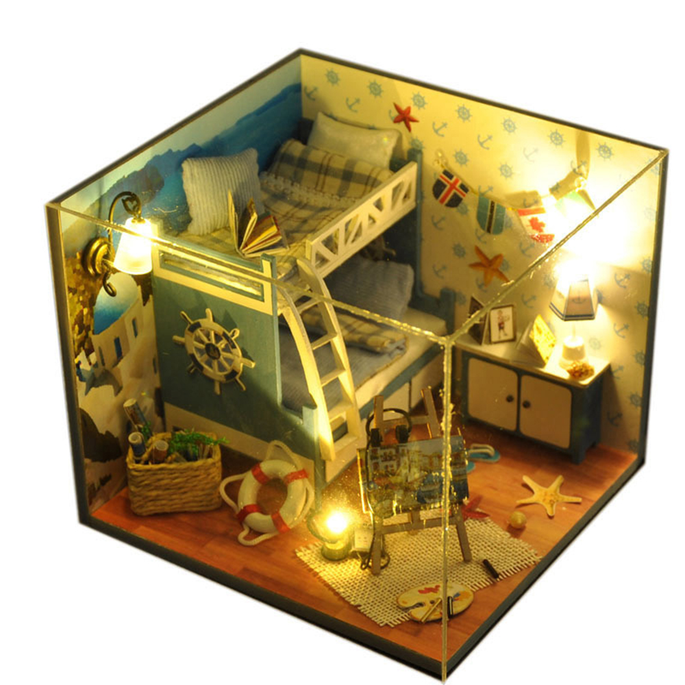 DIY Miniature Room Wooden Doll House Aegean Tour with Furniture LED Lights Dust Cover Dollhouse Toys for Children