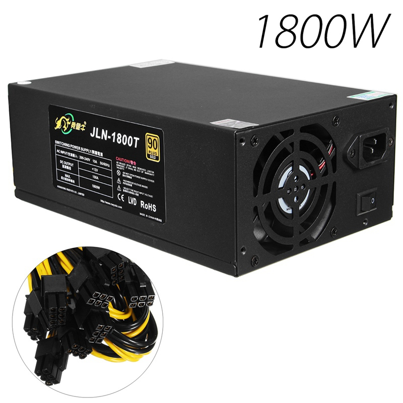 1800W ATX 12V 6 Pin Power Supply 90 Plus Gold Certified 8cm Fan for Mining BTC New computer Power For BTC au 400 aurum gold 400w atx 80 gold certified power supply