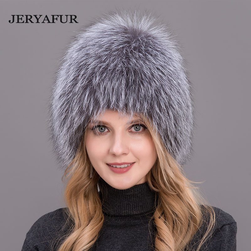 3e91d7488c5bf JERYAFUR 2018 New Russian style fur hat knitting wool fashion mink and Fox  Fur Hat Winter womens trip ski cap ...