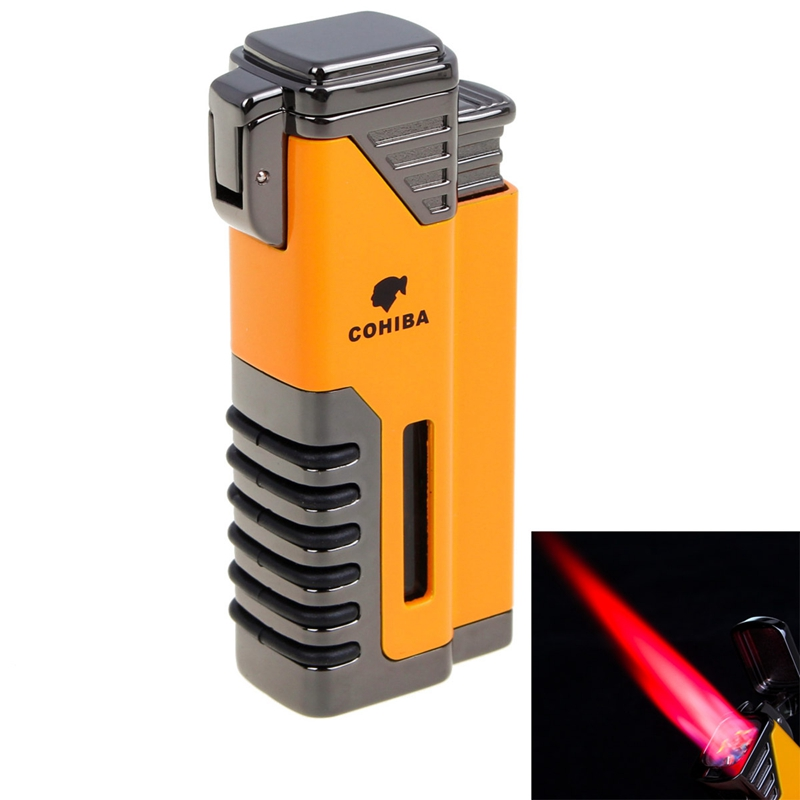 COHIBA Windproof Lighter Torch Jet Flame Refillable Inflatable Four Flame Cigar Lighter Cigarette Lighter gas torch lighterCOHIBA Windproof Lighter Torch Jet Flame Refillable Inflatable Four Flame Cigar Lighter Cigarette Lighter gas torch lighter