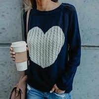 Wontive 2019 Herbst Winter Frauen Pullover Herz Muster Gedruckt Langarm Tops Oansatz Schöne Pullover Gestrickte Lose Pullover