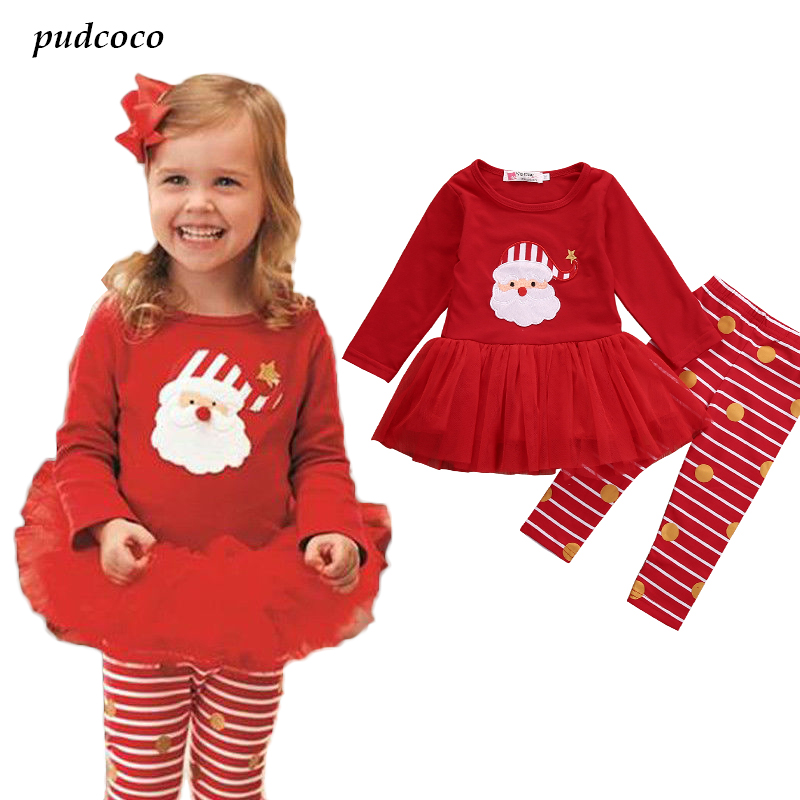 Xams Cute Baby Girl Santa Outfits Toddler Kids Babies Girls Christmas Set Tutu T-shirt Top+Pants Clothes Sets vimikid 2017 new summer girls clothing sets toddler baby kids girl off shoulder t shirt top ripped jeans pants outfits set
