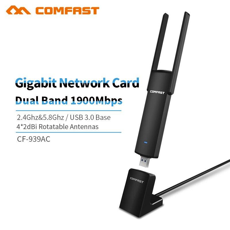 Comfast CF-939AC 1900 Mbps Gigabit 2.4G/5.8 GHz double bande 802.11 ac USB 3.0 WI-FI WIFI sans fil adaptateur cartes réseau AP avec Base