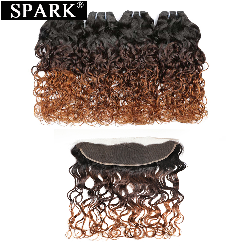Spark Brazilian Water Wave Ombre Human Hair 3 Bundles With Closure 13x4 Ear to Ear Lace