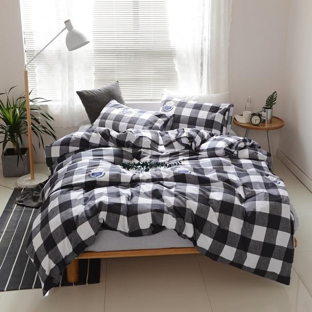 Classic Black And White Plaid Duvet Cover Set 100% Cotton Menu0027s Bedding Sets  Grey Solid