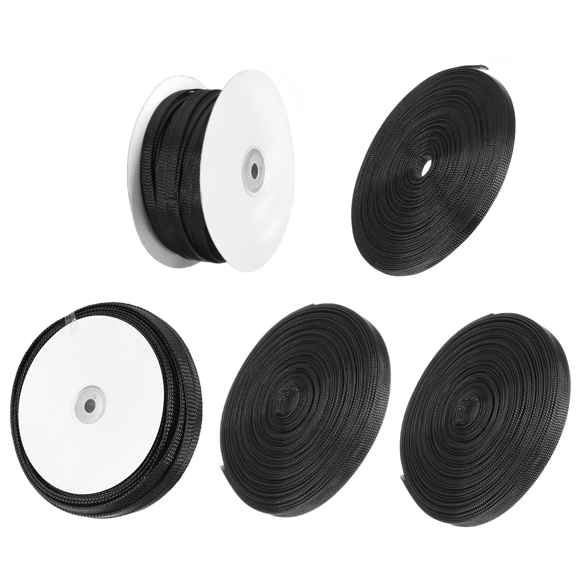 30m Nylon Black Expandable Sheathing Tight Braided Loom Tubing Wire Cable Sleeving Insulation 8/10/12/15/20mm For Wrapping Cable trianglelab cable casing black spiral wrapping reprap flame retardant 10mm diameter cable sleeves winding pipe wrapping band