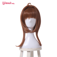 цена на L-email wig Cardcaptor Sakura Kinomoto Sakura Cosplay Wigs Brown Straight Clear Card Wigs Synthetic Hair Perucas Cosplay Wig