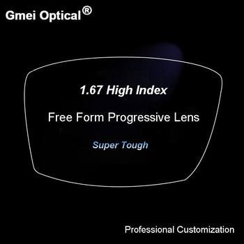 1.67 Digital Free Form Progressive No-Line Multi-Focal Prescription Customized Optical Lenses With Anti-Reflection Coating 2 Pcs