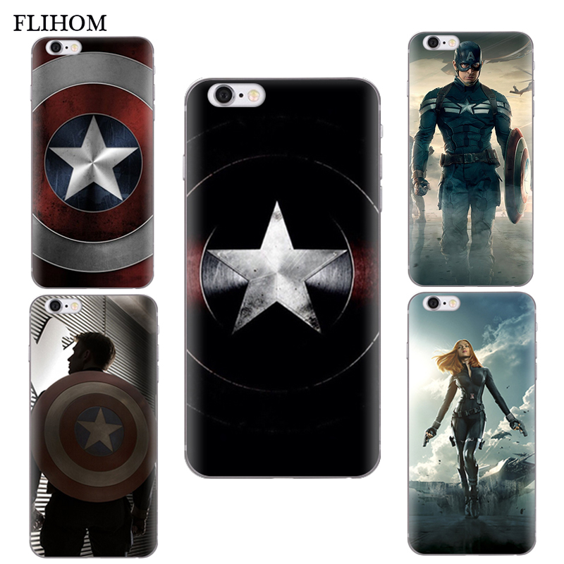 American Captain Silicone Shells For font b iphone b font 6 6s 7Plus Phone Case For