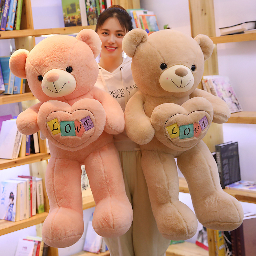 1pc 100cm Creative Love Teddy Bear Holding Heart Stuffed Animals Plush Toy Bear for Children Kids Doll Kawaii Valentine Gift