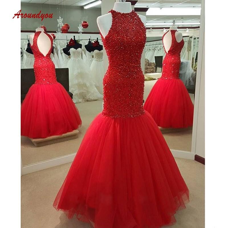 Heißer Preis Rot Luxus Lange Abendkleider Meerjungfrau ...