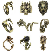 Gothic Punk Animal Ring Dog Dragon Wolf Bird Lion Head Skeleton Eagle Claw Rings For Men Women Biker Jewelry Gift Anel Masculino(China)