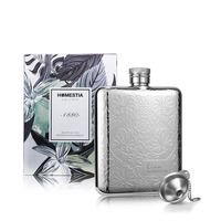 Top Gift Box Pack Stainless Steel Flower Croco Design Wine Hip Flask 6 Oz Whiskey Liquor