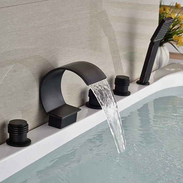 Wholesale And Retail Oil Rubbed Bronze Wall Mounted Bathroom Tub Faucet C  Curved Waterfall Spout 3