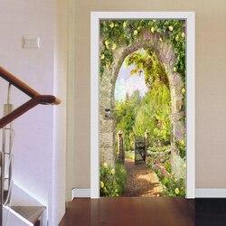 Europejski styl kamień filar widokiem na ogród drzwi naklejki salon restauracja kreatywny tapeta z dekorem PVC naklejki samoprzylepne w Naklejki na drzwi od Dom i ogród na
